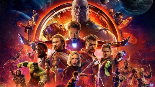 A poster showing most marvel super heroes and the main villain of the universe, Thanos.