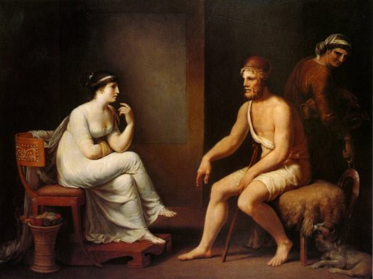 Penelope questions Odysseus to prove his identity. Only his loyal watchdog, Argos, recognized him.