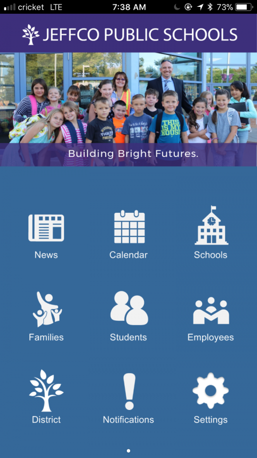 This is a screenshot of the home page of the Jeffco Schools app.