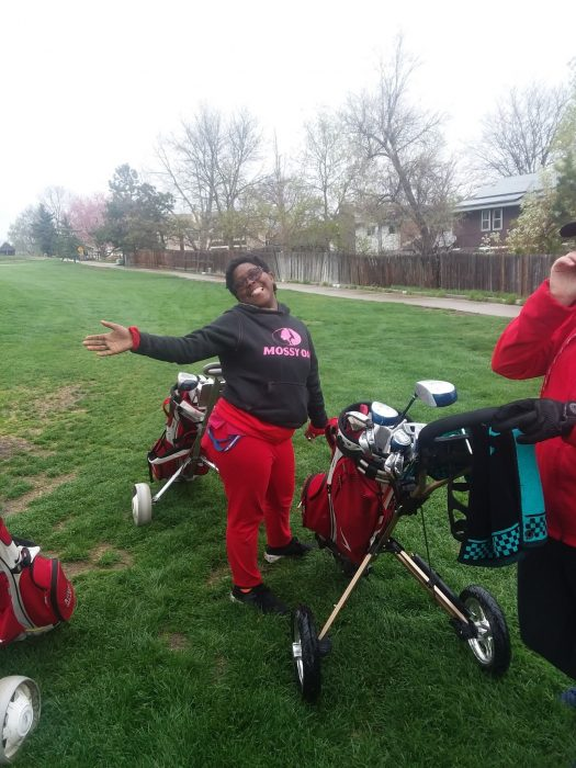 Mercedes Montoya at one of her golf tournaments.