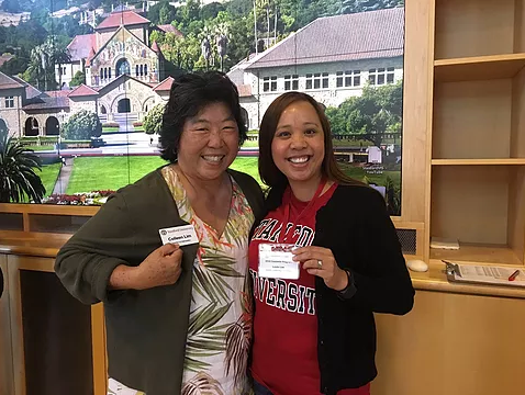 Mrs. Lim during a Stanford recruiting visit.