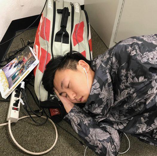 Senior Chris Oh takes a break from AP Gov to take a nap.