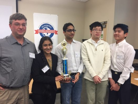 From left to right: Mr. Snow, Shreya Kamojjala, Eshaan Vakil, Eric Yuan, Nicholas Ho