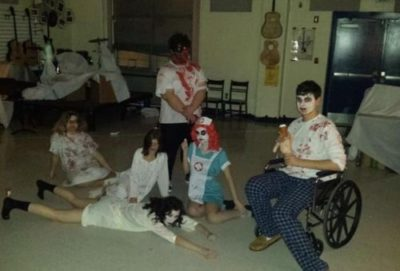Theather students pose after a successful haunted house.