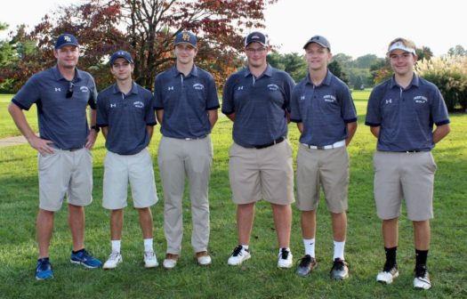 Pictured from left to right: Coach Moen, Kurcoba, Sallese, Arnold, Bull, Weiss