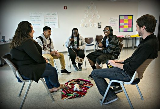 High-school students attend a session in restorative justice class at Augustus F. Hawkins High.