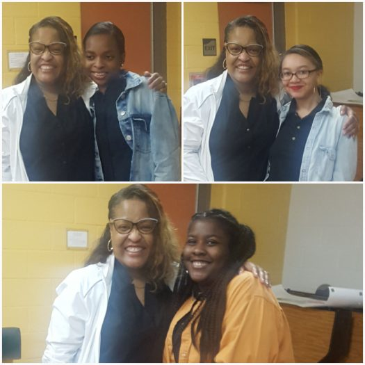 (from left) Seniors Jalayia Atcherson, Jimia Miles and Jasmine Bangura celebrate their scholarships.