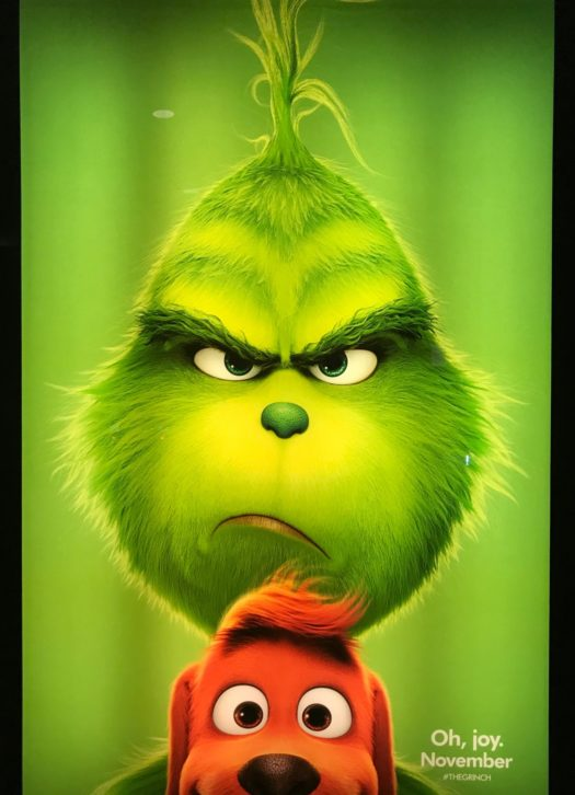 "One of the movie poster showing off the Grinch adorableness in the new movie ""The Grinch"""