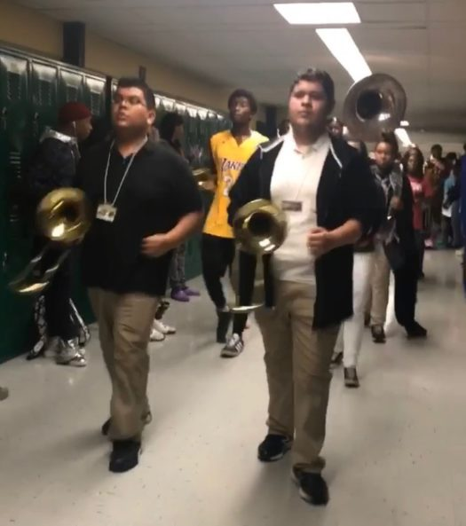 Parkdale's Marching band participating in the Spirit train