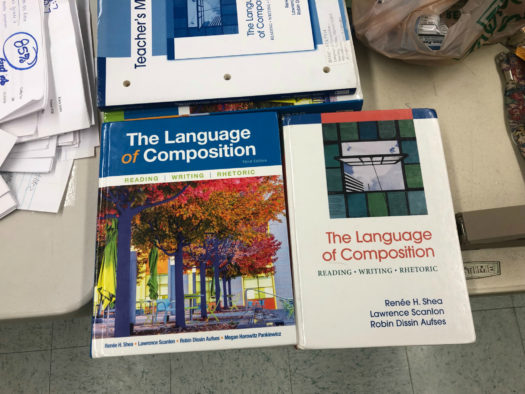 English teacher Ms. Olfky feels her textbook (left) should be available to students, too.