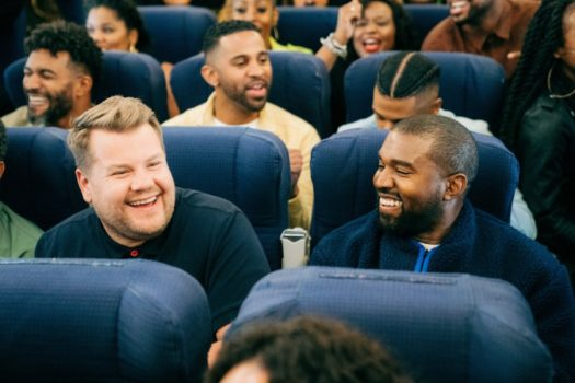 James Corden interviews Kanye West in a remix of his Carpool Karaoke entitled Airpool.