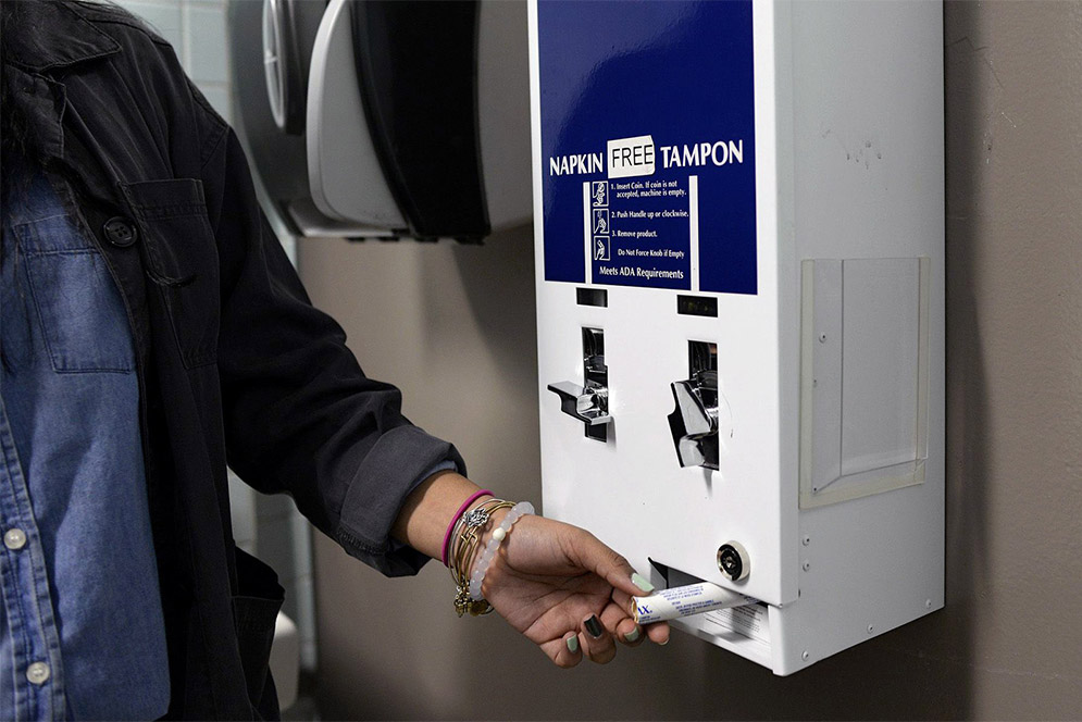 Tampon and pad dispensers around the school could help female students greatly.