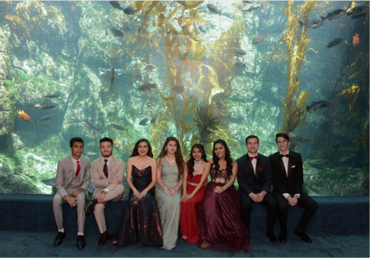 Associated Student Body students at Birch Aquarium give students a preview of the Prom venue.