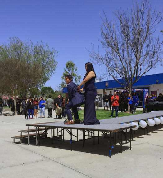David Vera, 12, and Janelle Bracamonte, 12, show a preview of their dancing for Prom night.